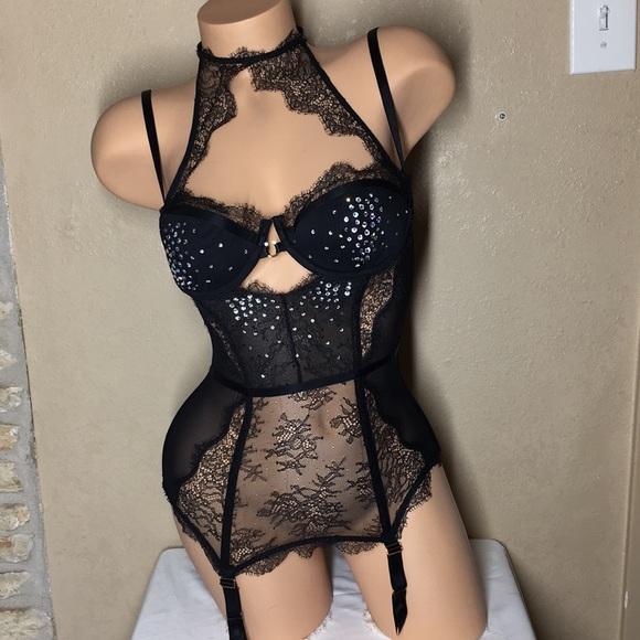 Victoria Secret Lingerie Bustier Corset Garter Straps Black Cream Dream Angels